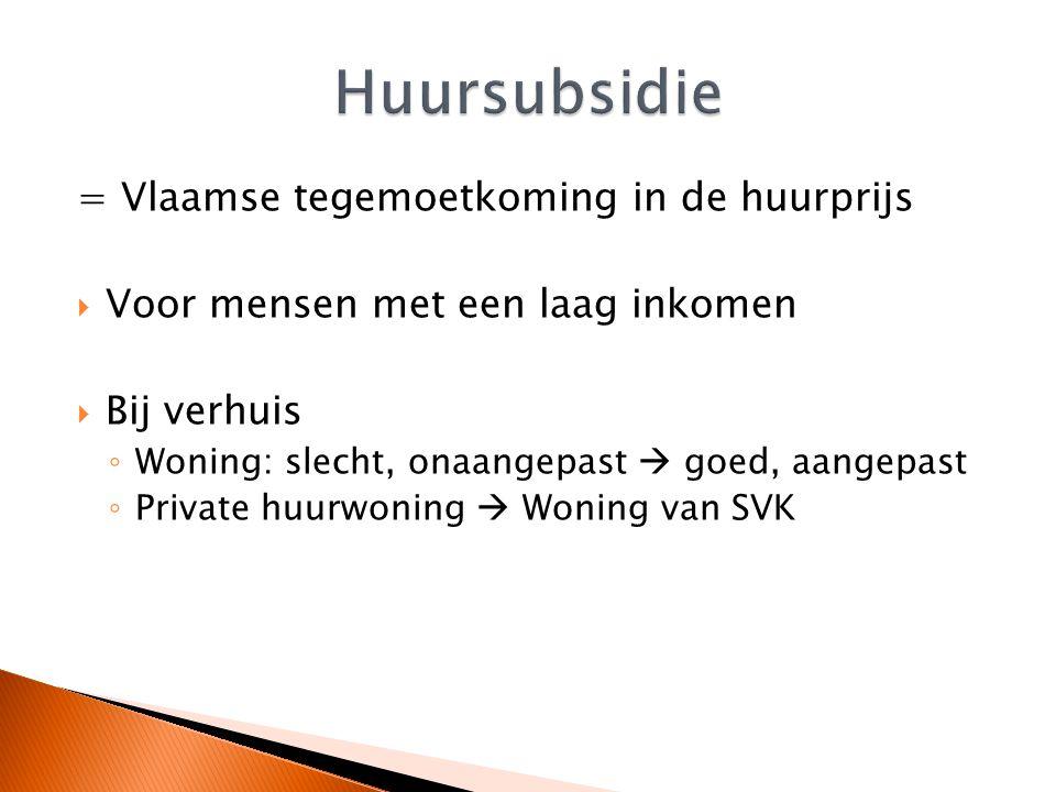 Huursubsidie = Vlaamse tegemoetkoming in de huurprijs
