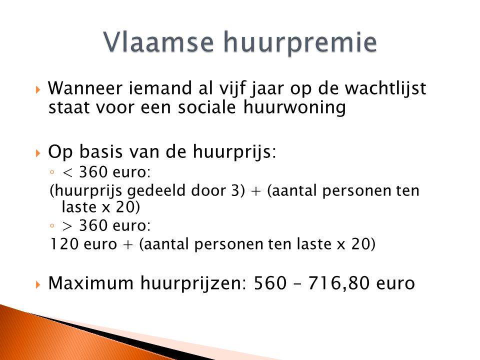 Vlaamse huurpremie Wanneer iemand al vijf jaar op de wachtlijst staat voor een sociale huurwoning.