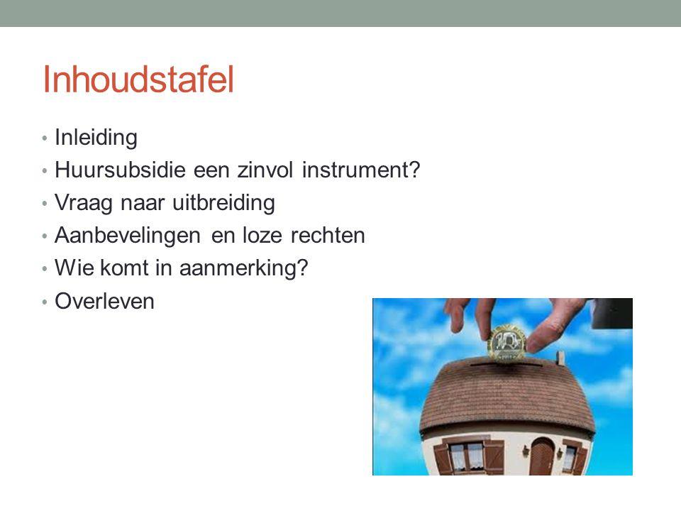 Inhoudstafel Inleiding Huursubsidie een zinvol instrument