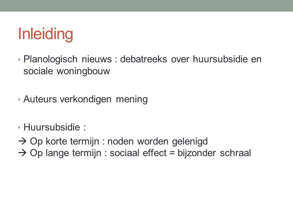 Inleiding Planologisch nieuws : debatreeks over huursubsidie en sociale woningbouw. Auteurs verkondigen mening.