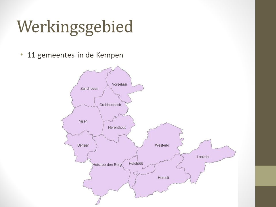 Werkingsgebied 11 gemeentes in de Kempen