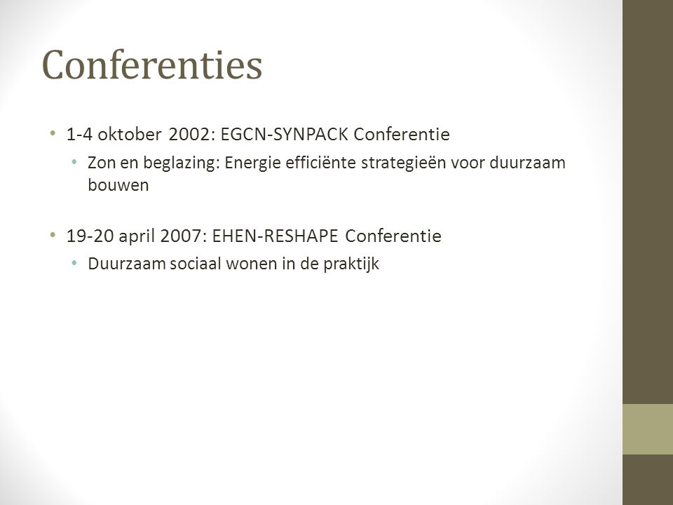 Conferenties 1-4 oktober 2002: EGCN-SYNPACK Conferentie