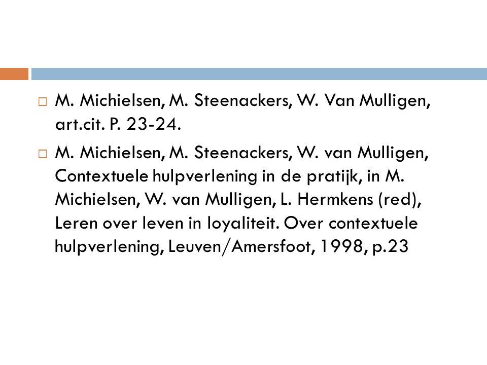 M. Michielsen, M. Steenackers, W. Van Mulligen, art.cit. P. 23-24.