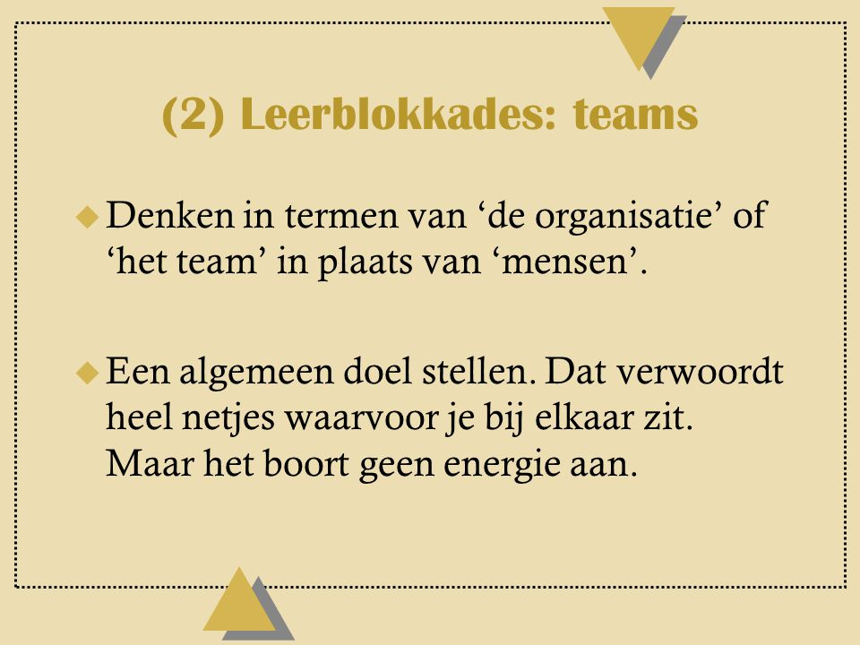 (2) Leerblokkades: teams