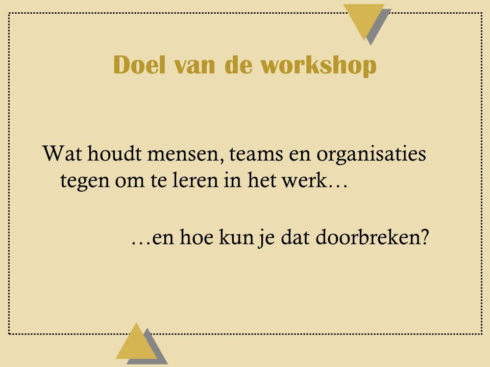 Doel van de workshop Wat houdt mensen, teams en organisaties tegen om te leren in het werk… …en hoe kun je dat doorbreken