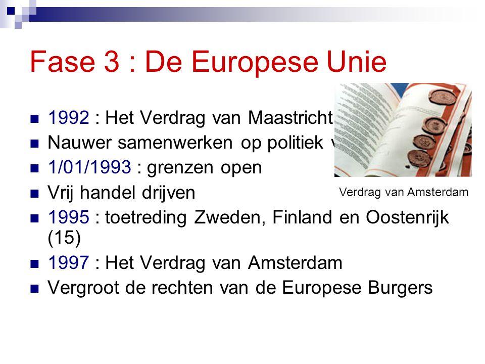 Fase 3 : De Europese Unie 1992 : Het Verdrag van Maastricht