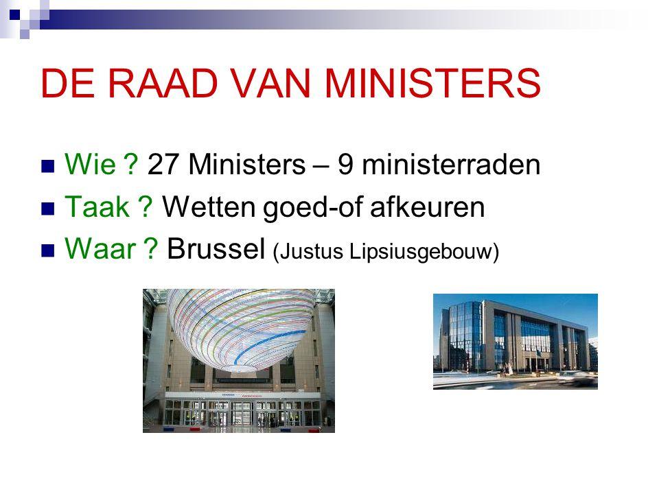 DE RAAD VAN MINISTERS Wie 27 Ministers – 9 ministerraden