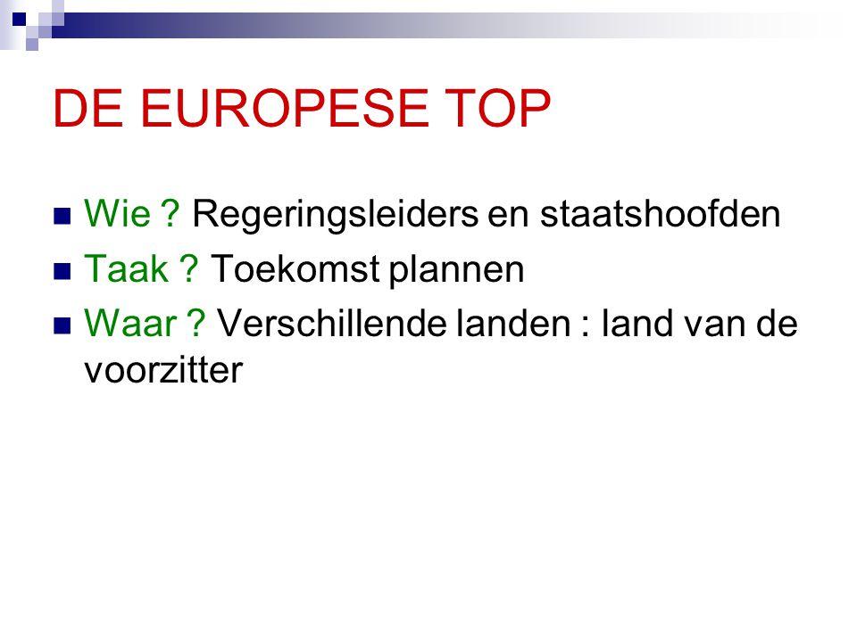DE EUROPESE TOP Wie Regeringsleiders en staatshoofden