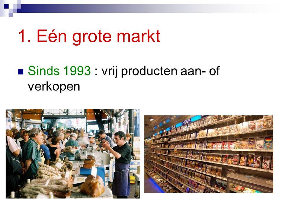 1. Eén grote markt Sinds 1993 : vrij producten aan- of verkopen