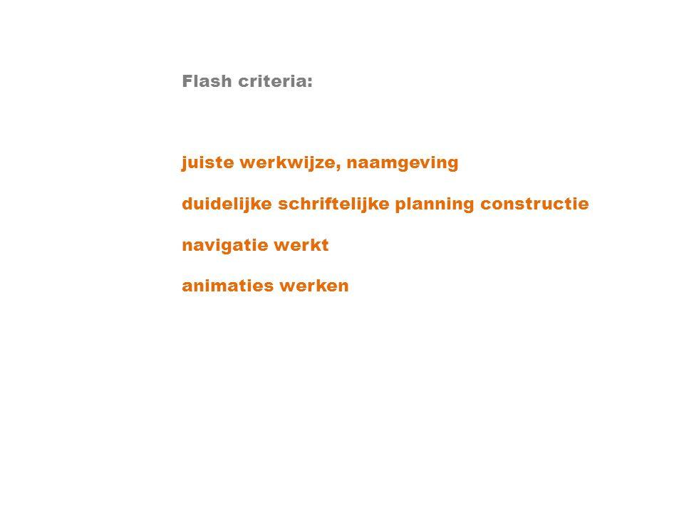 Flash criteria: juiste werkwijze, naamgeving. duidelijke schriftelijke planning constructie. navigatie werkt.