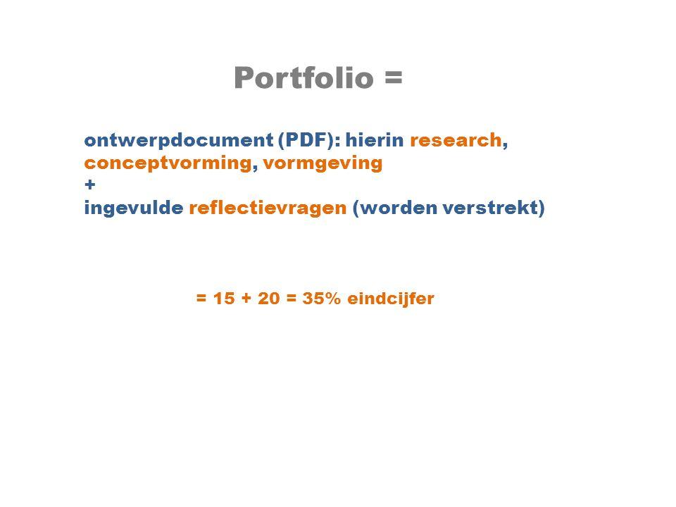 Portfolio = ontwerpdocument (PDF): hierin research, conceptvorming, vormgeving. + ingevulde reflectievragen (worden verstrekt)