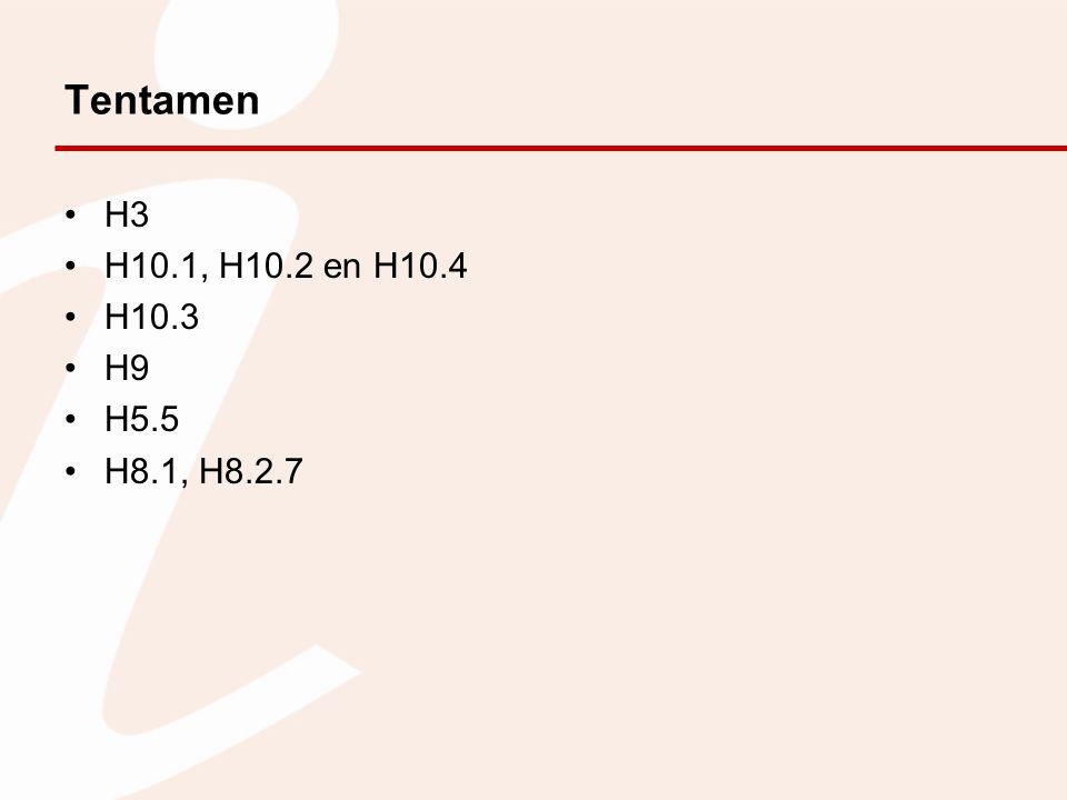 Tentamen H3 H10.1, H10.2 en H10.4 H10.3 H9 H5.5 H8.1, H8.2.7