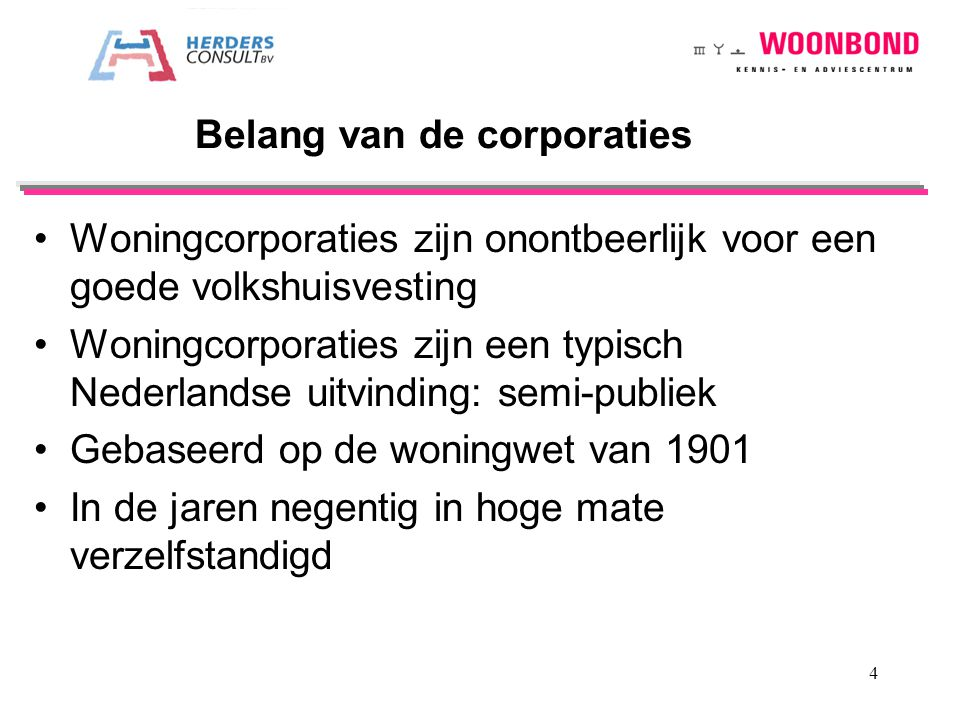 Belang van de corporaties
