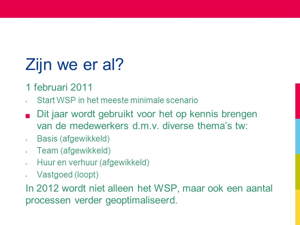 Zijn we er al 1 februari 2011. Start WSP in het meeste minimale scenario.