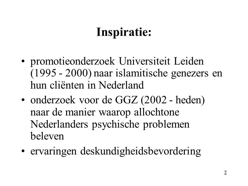 Inspiratie: promotieonderzoek Universiteit Leiden (1995 - 2000) naar islamitische genezers en hun cliënten in Nederland.
