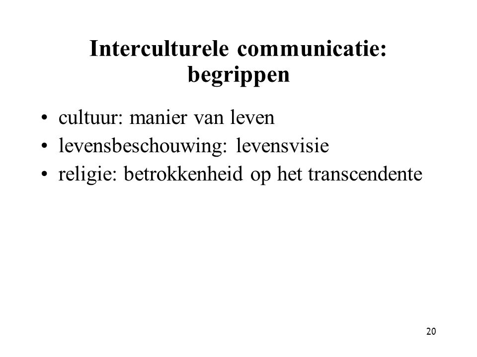 Interculturele communicatie: begrippen