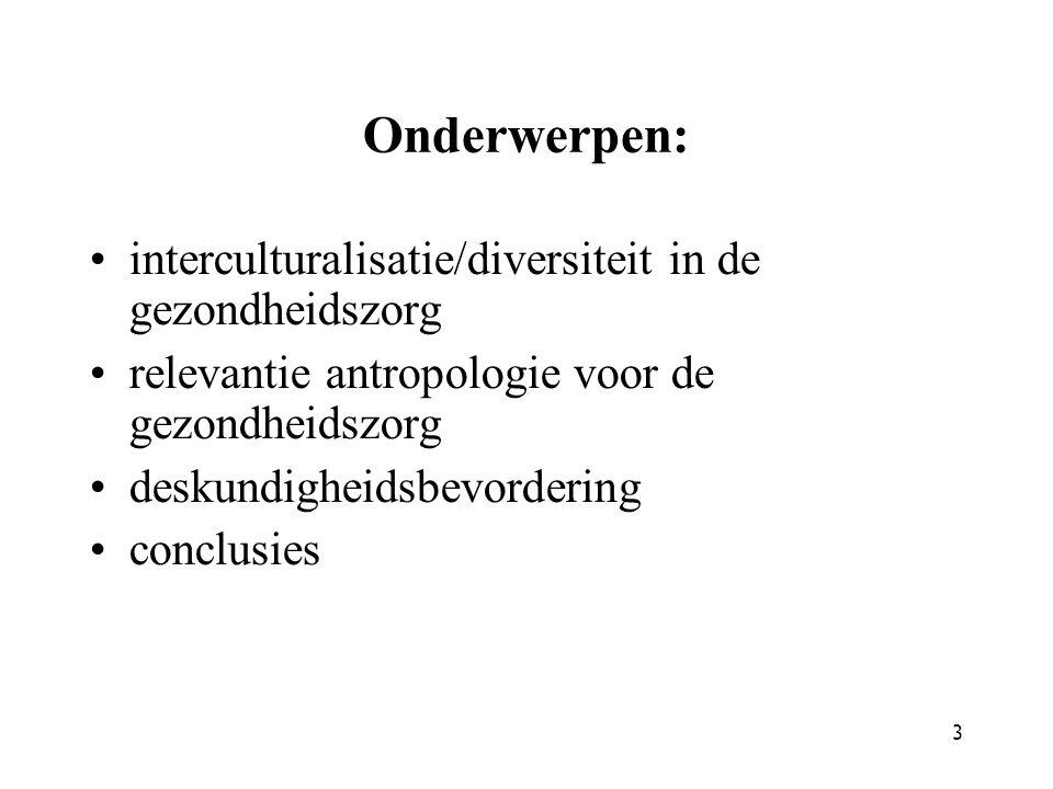Onderwerpen: interculturalisatie/diversiteit in de gezondheidszorg