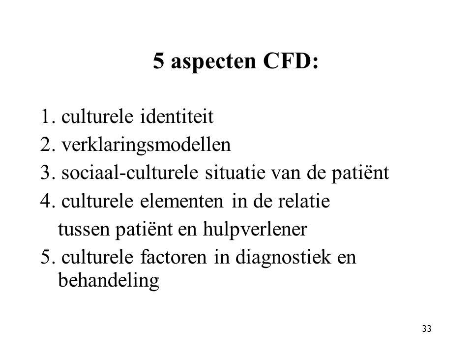 5 aspecten CFD: 1. culturele identiteit 2. verklaringsmodellen