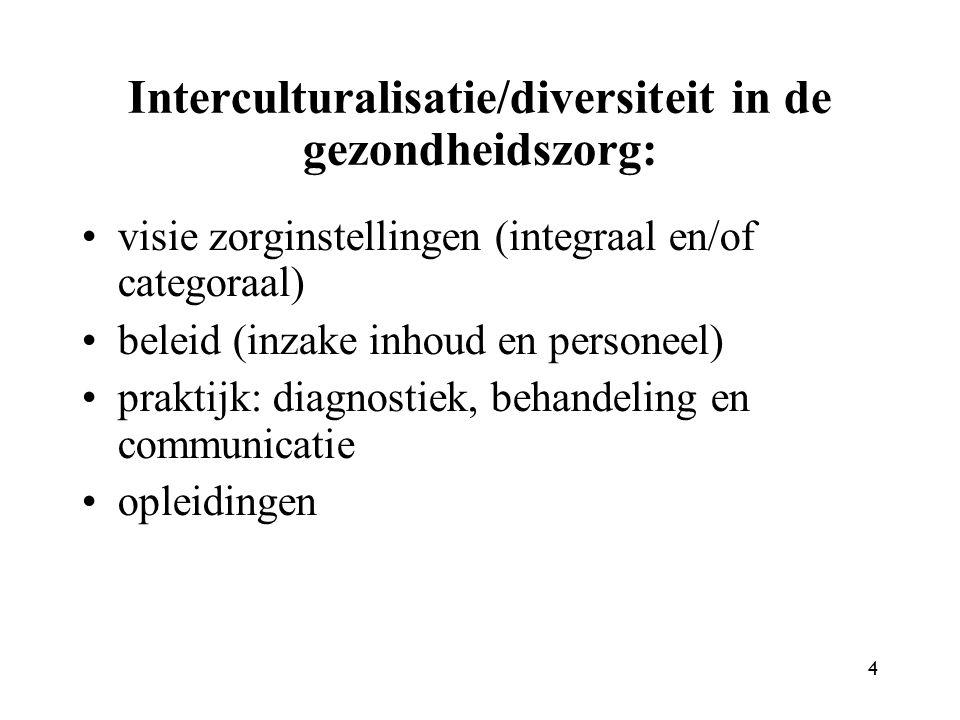 Interculturalisatie/diversiteit in de gezondheidszorg: