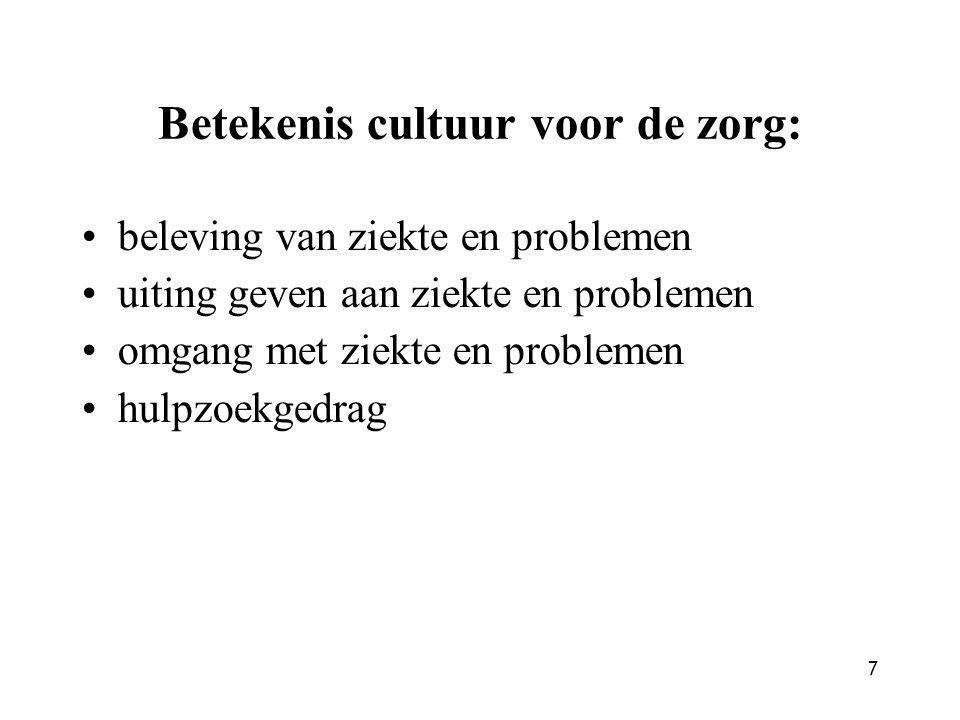 Betekenis cultuur voor de zorg: