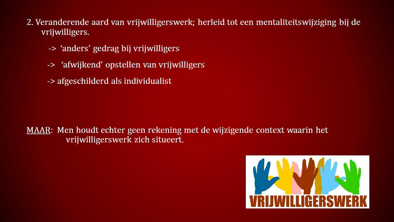 2. Veranderende aard van vrijwilligerswerk; herleid tot een mentaliteitswijziging bij de vrijwilligers.