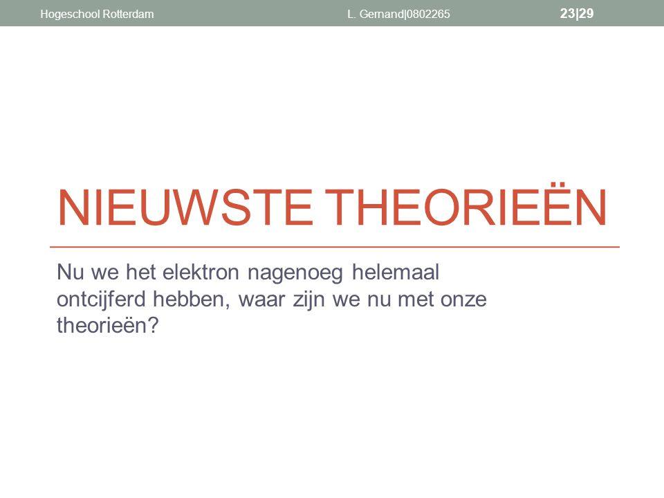 Hogeschool Rotterdam L. Gernand|0802265. nieuwste theorieën.