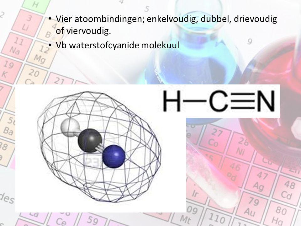 Vier atoombindingen; enkelvoudig, dubbel, drievoudig of viervoudig.