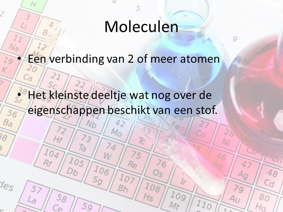 Moleculen Een verbinding van 2 of meer atomen