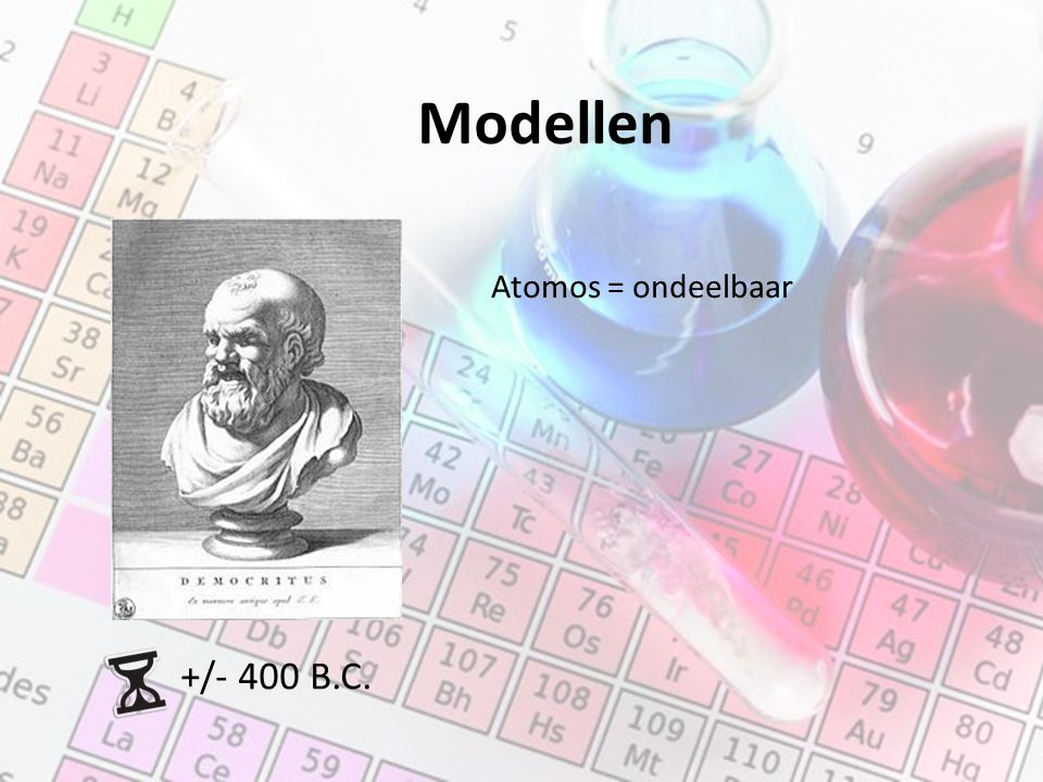 Modellen +/- 400 B.C. Atomos = ondeelbaar