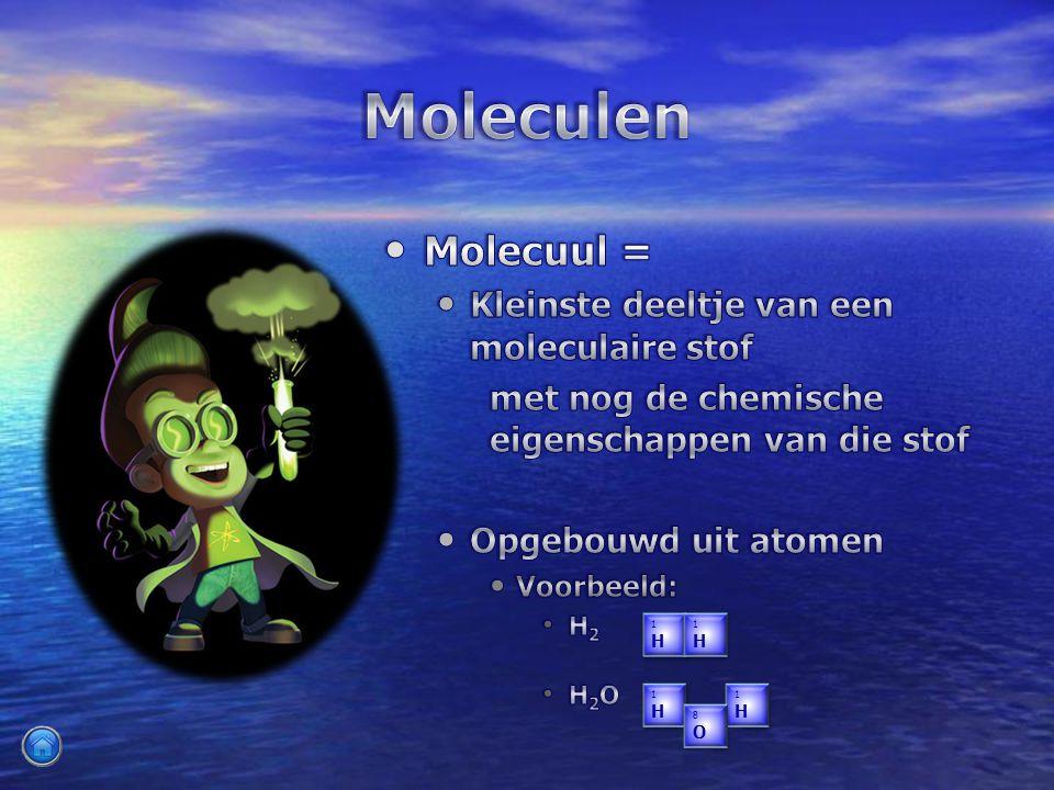 Moleculen Molecuul = Kleinste deeltje van een moleculaire stof
