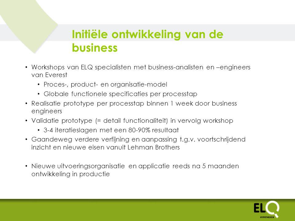 Initiële ontwikkeling van de business