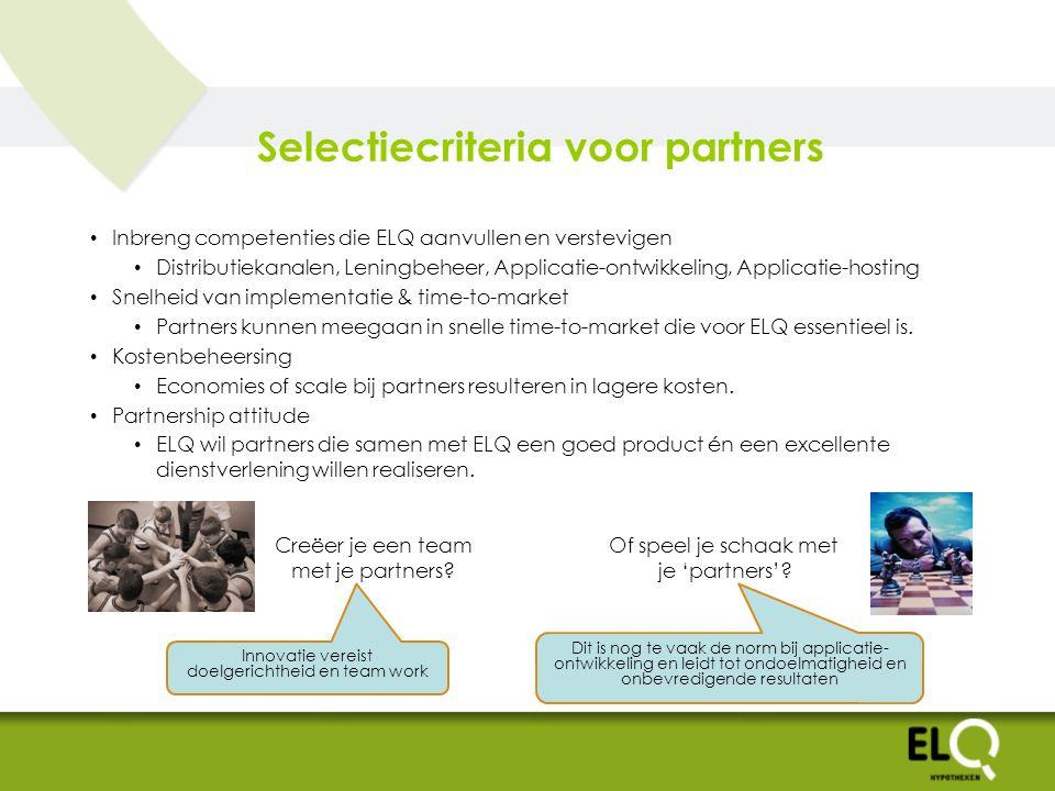 Selectiecriteria voor partners