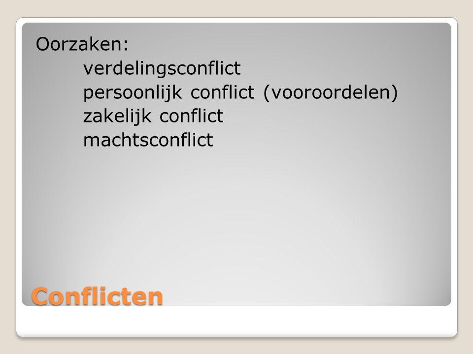 Oorzaken: verdelingsconflict persoonlijk conflict (vooroordelen) zakelijk conflict machtsconflict