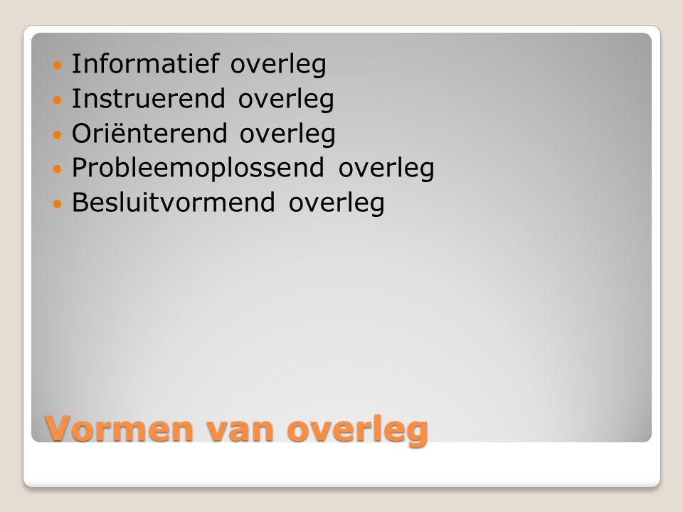 Vormen van overleg Informatief overleg Instruerend overleg
