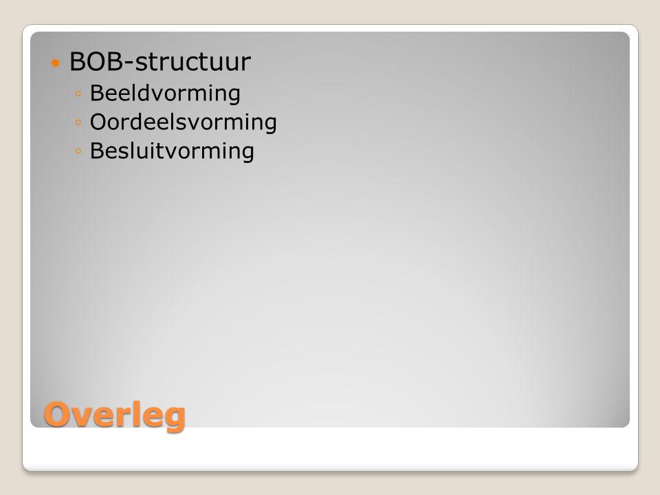 BOB-structuur Beeldvorming Oordeelsvorming Besluitvorming Overleg