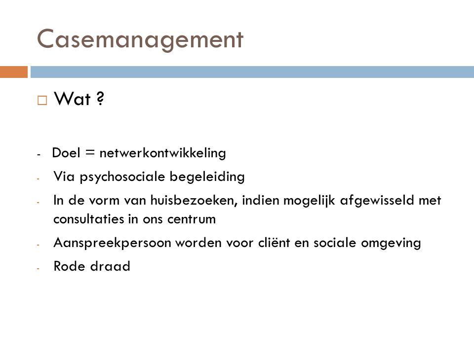 Casemanagement Wat Via psychosociale begeleiding
