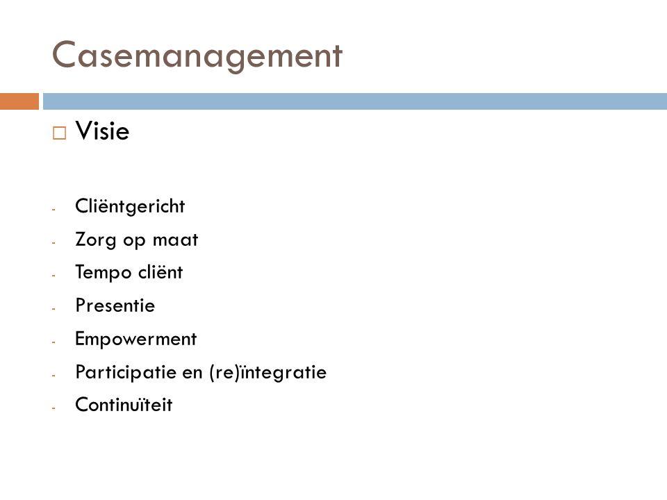 Casemanagement Visie Cliëntgericht Zorg op maat Tempo cliënt Presentie