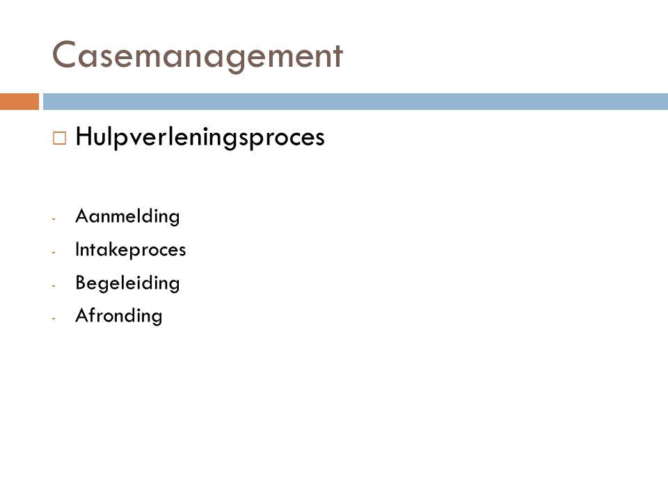 Casemanagement Hulpverleningsproces Aanmelding Intakeproces