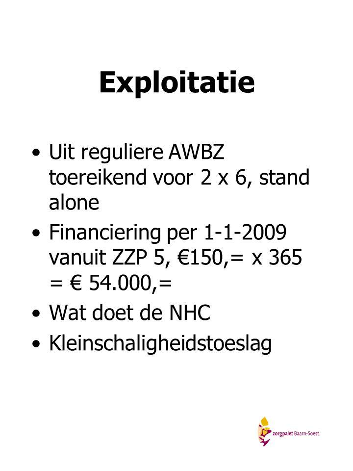 Exploitatie Uit reguliere AWBZ toereikend voor 2 x 6, stand alone