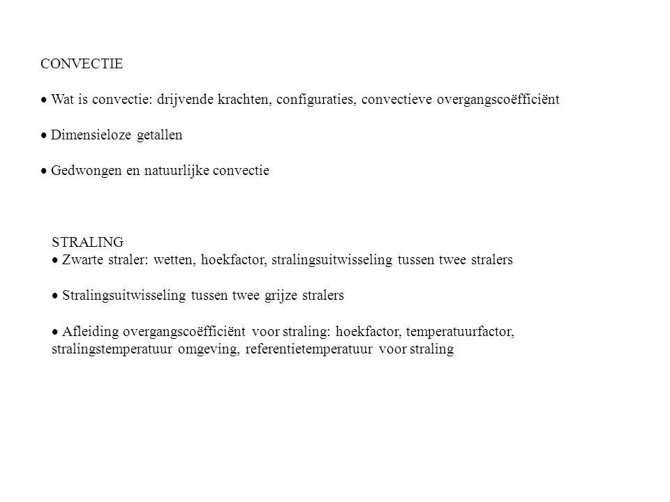 CONVECTIE · Wat is convectie: drijvende krachten, configuraties, convectieve overgangscoëfficiënt. · Dimensieloze getallen.