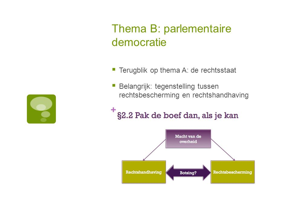 Thema B: parlementaire democratie