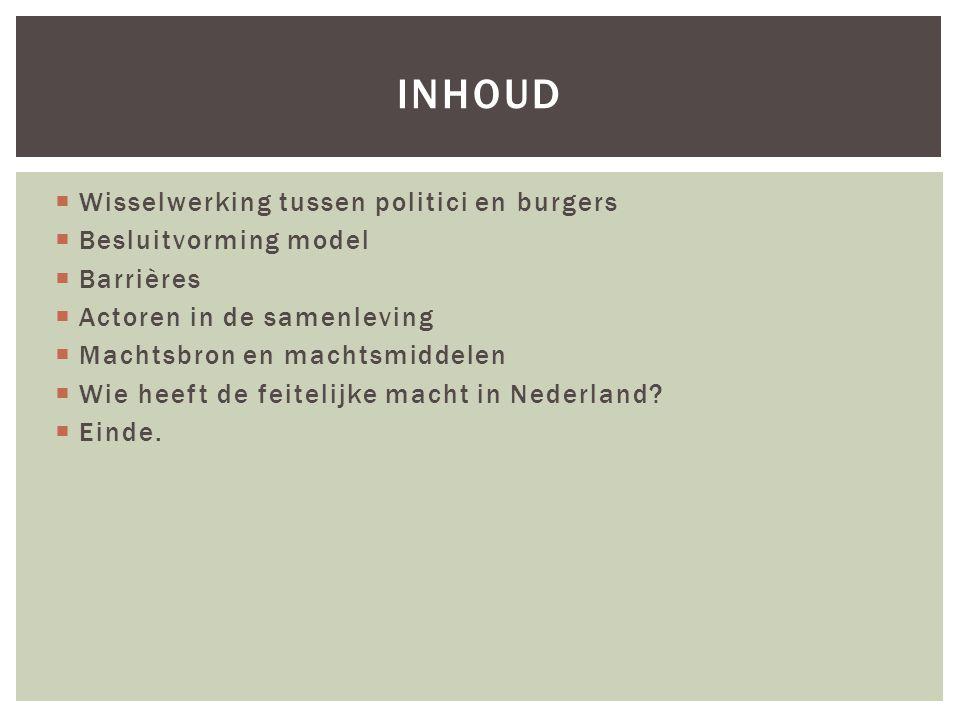 Inhoud Wisselwerking tussen politici en burgers Besluitvorming model