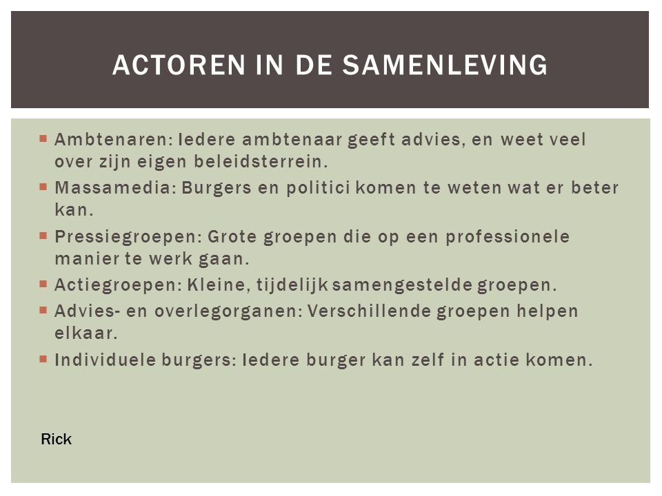 Actoren in de samenleving