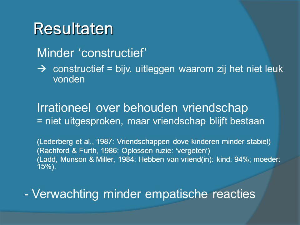 Resultaten Minder 'constructief'