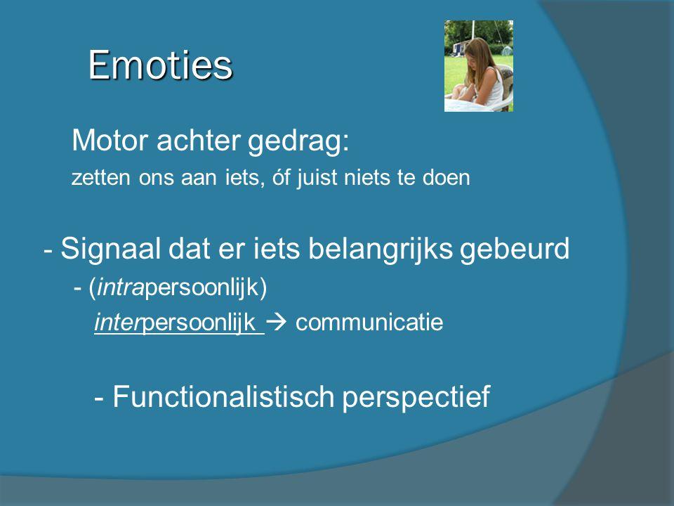 Emoties Motor achter gedrag: - Functionalistisch perspectief