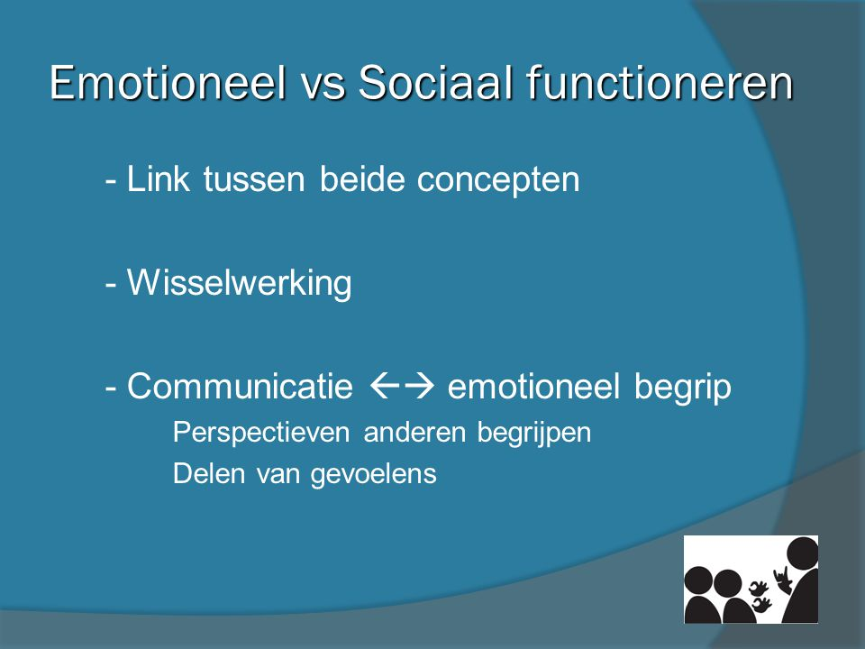 Emotioneel vs Sociaal functioneren
