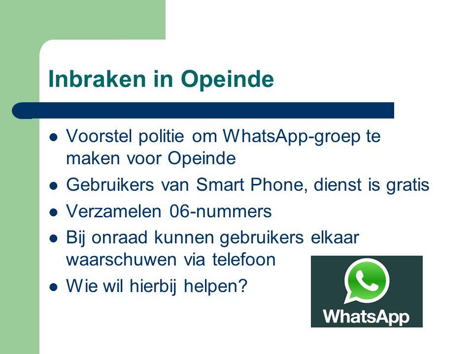 Inbraken in Opeinde Voorstel politie om WhatsApp-groep te maken voor Opeinde. Gebruikers van Smart Phone, dienst is gratis.