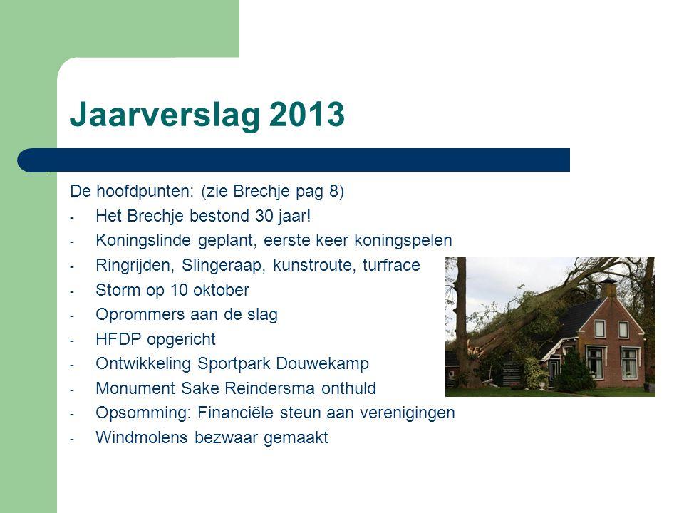 Jaarverslag 2013 De hoofdpunten: (zie Brechje pag 8)