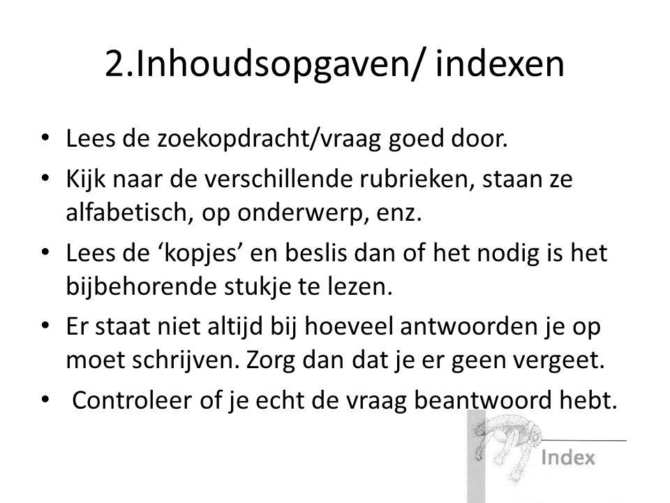 2.Inhoudsopgaven/ indexen