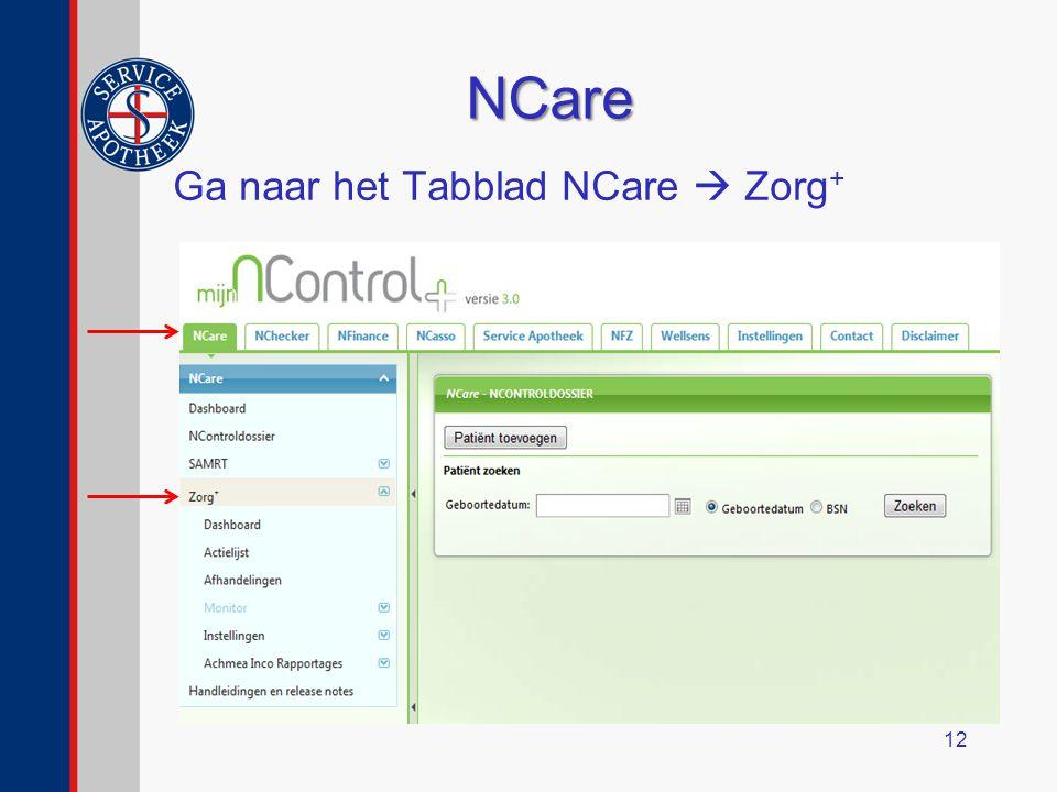NCare Ga naar het Tabblad NCare  Zorg+